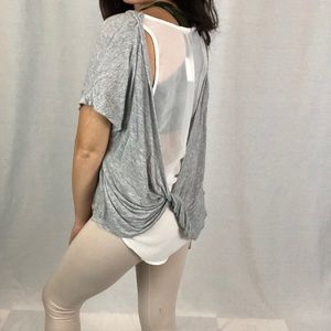 LUSH | layered gray and sheer white top size Xs